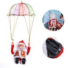 Creative Christmas Toy Parachute Electric Santa Claus Plush Doll Parachute Santa Claus Good Xmas Gift for Kids Christmas Acc