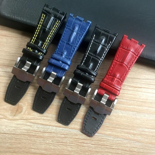 28mm * 22mm (fivela) preto com branco amarelo pontos vermelho azul pulseira de couro genuíno para ap pulseira de relógio masculino