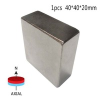 1 Pcs Block 40x40x20mm N52 Super Strong Rare Earth Magnets Neodymium Magnet High Quality Newest