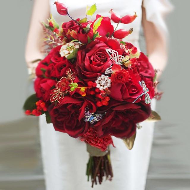 Molto Nuovo stile Cinese, bouquet da sposa rose rosse spilla bouquet da  FM72