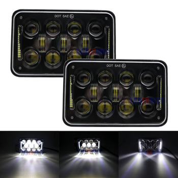 """1pair Square 4x6"""" LED H4 Rectangular Truck Headlights 60W with DRL&Hi/Lo Beam Headlamps Projector For Peterbilt 379 378 357"""