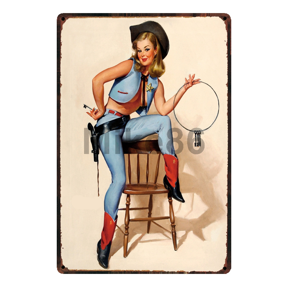 [ Mike86 ] Cow Boy Pin up Tin Sign Wall Posters ART Metal Painting Pub Craft Decor 20*30 CM SL-9080