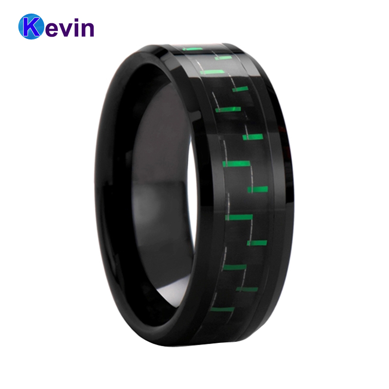 Black Tungsten Carbide Ring Black Rings For Women Men With Black+Green Carbon Fiber Inlay tungsten carbide steel ring with wire drawing application