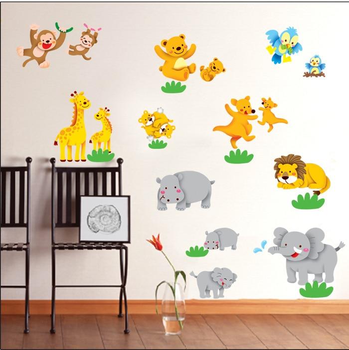 103x86cm Safari Animal Giraffe Monkey Removable Wall Decals