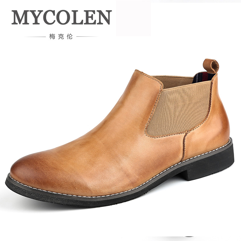 MYCOLEN New 2018 Men Chelsea Boots Luxury Fashion Men Spring Autumn Desert West Fashion Ankle Casual Men Boots Men Boots mycolen men shoes luxury fashion spring autumn men boots leather ankle boots for man footwear new casual fashion breathable