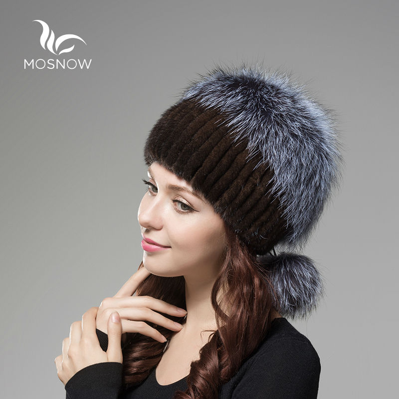 New 2019 Real Mink Fur Woman Winter Hats Silver Fox Pompons Stripe - Apparel Accessories - Photo 4