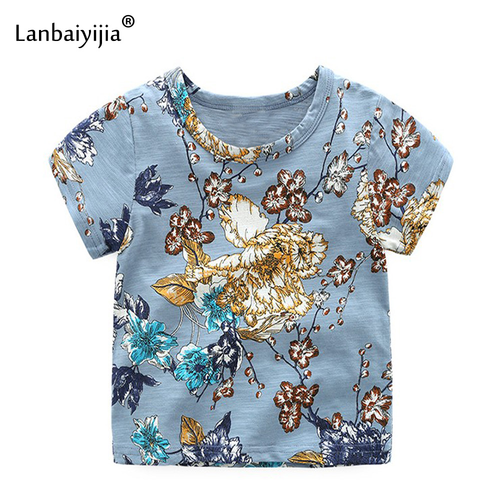 Lanbaiyijia multicolor floral hot top boys/girls Cotton t shirt 2018 Summer style short sleeve Child clothing tshirt girls tops