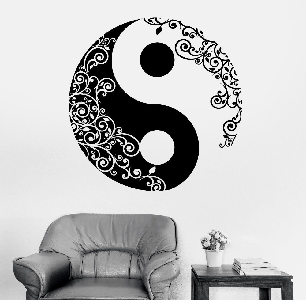 Removable Cool Vinyl Wall Sticker Buddha Yin Yang Floral Religion Wall Mural Art Home Wall Decortion Yoga Meditation Decal W-873
