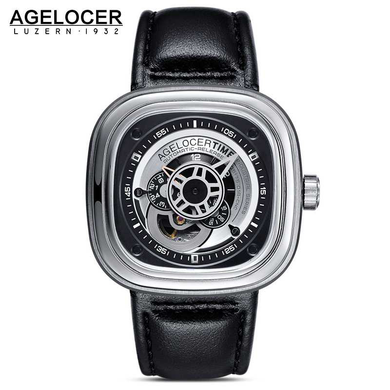 Agelocer Brand Relogio Masculino Automatic Watch 100% Cowhide Watchband Sport Wrist Watch Men Stainless Steel Waterproof 50M weide popular brand new fashion digital led watch men waterproof sport watches man white dial stainless steel relogio masculino