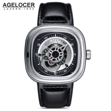 Agelocer Brand Relogio Masculino Automatic Watch 100% Cowhide Watchband Sport Wrist Watch Men Stainless Steel Waterproof 50M