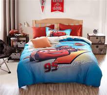 Rayo McQueen Cars 3D Impreso Juegos de Cama Full Twin Queen Size Colcha Edredón Fundas de edredón de Algodón Egipcio 600TC Azul Rojo