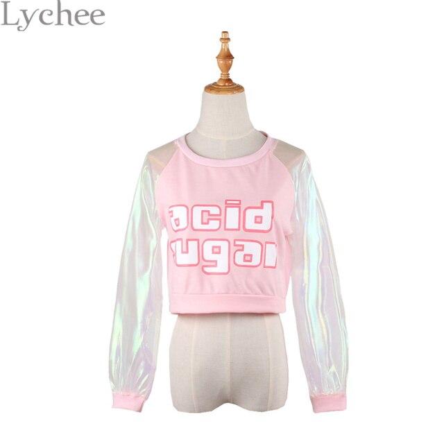 Spring Autumn Harajuku Japanese Style Women T-shirt Laser Transparent Long Sleeve Patchwork Crop Top