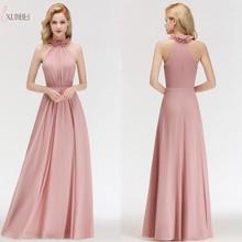 2019 Pink Elegant Chiffon Long Prom Dresses Halter Sleeveless Gown vesidos de gala 1059