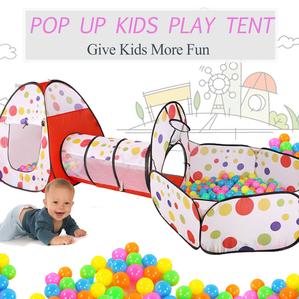 3 in 1 Pop Up Play Tent Playhouse Tunnel Ball Pit Baby Kids Play Folding Toy Kids Indoor Outdoor Playhouse Kids Gaming Toys