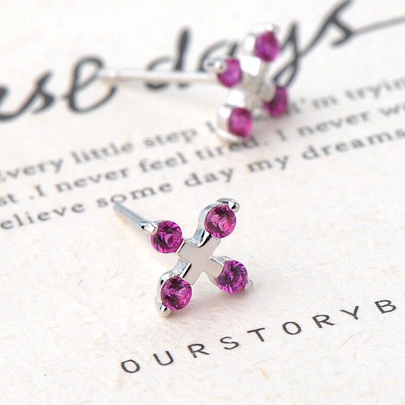 Korean version S925 Silver Cross ear Nail female Fashion set Diamond Purple Diamond Personality ear Jewelry Creative style