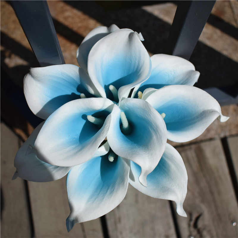 9 Malibu Picasso Calla Lily Blue Real Touch Calla Lilies DIY Wedding Bouquets Centerpieces