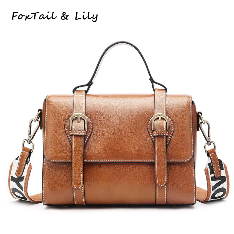 FoxTail & Lily Women Genuine Leather Handbags Double Straps Luxury Designer Crossbody Bag Fashion Ladies Shoulder Messenger Bags