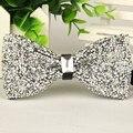 Feitas à mão dos homens bowtie cristal de Prata e jóia laço 2016 nova chegada gentlemen moda casual gravata borboleta masculina lote