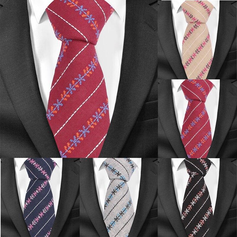 New Casual Floral Cotton Ties For Men Skinny Necktie Striped Mens Neck Tie Cravat 6 Cm Slim Neckties Suits Tie For Wedding