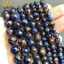 Round Natural Dark Blue Cloisonne Beads Loose Stone Beads For Jewelry Making DIY Bracelet Necklace Accessories 15'' 6/8/10mm