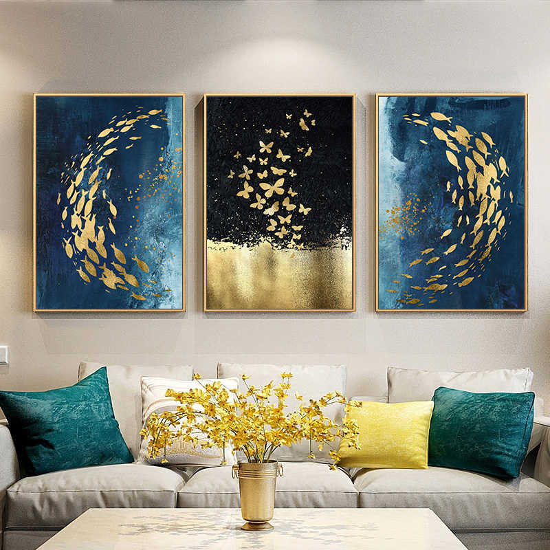 Nordic Golden Black Fish  Butterfly Wall Art Canvas Poster Print Canvas Painting Decorative Picture for Living Room Home Decor