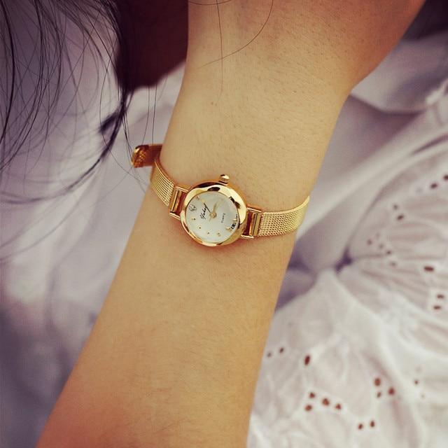 bussiness casual watches women quartz analog wristwatch lady female golden mesh