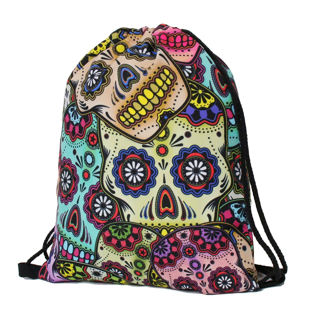 Aliexpress.com : Buy DAOXI Skull Drawstring Bag Women 3D Printing Colorful  Fashion School Bags 15.5'' *12'' from Reliable school bags suppliers on  DAOXI Bag ...
