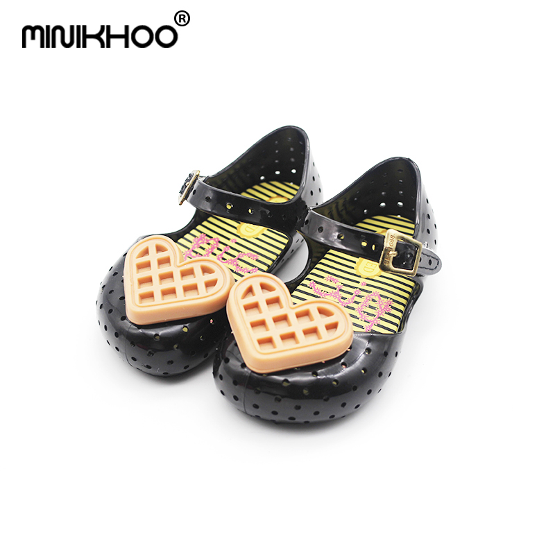 Mini Melissa 2018 New Waffle Girl Jelly Sandals Summer Cool Children Shoes Sandals For Baby Shoes Non-slip Girl Beach Sandals