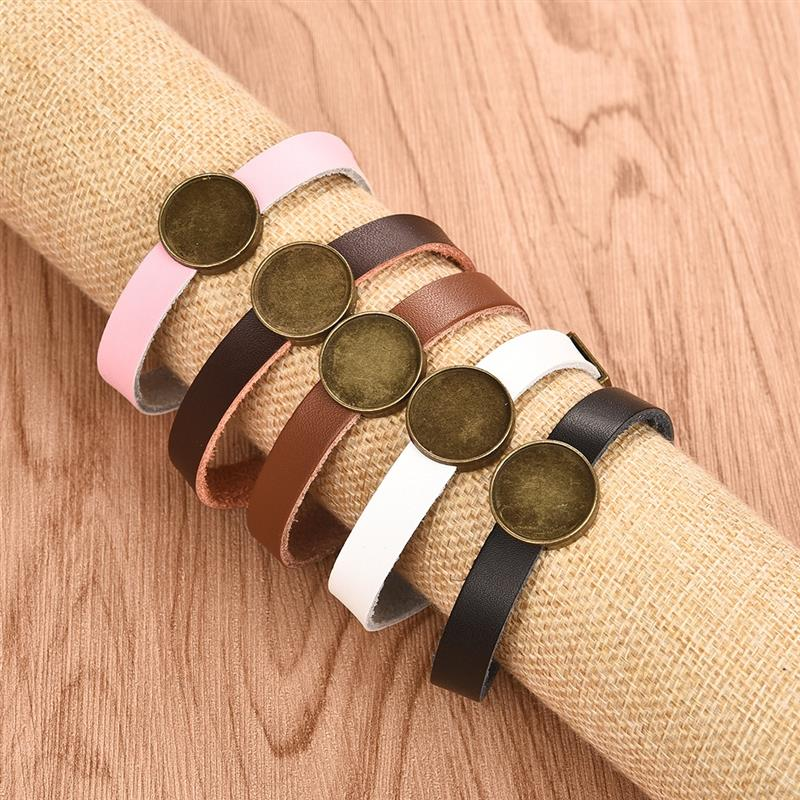 5pcs Leather Bracelet Bangles Base Setting Cuff Blank Tray Fit 18mm Glass Cabochon Semi Finished Bracelet DIY Jewelry Findings