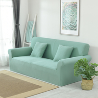 Universal Stretch Light Green Solid Color Couch Sofa Slipcovers Jacquard Plaid Sectional Sofa Cover furniture covers thick cover