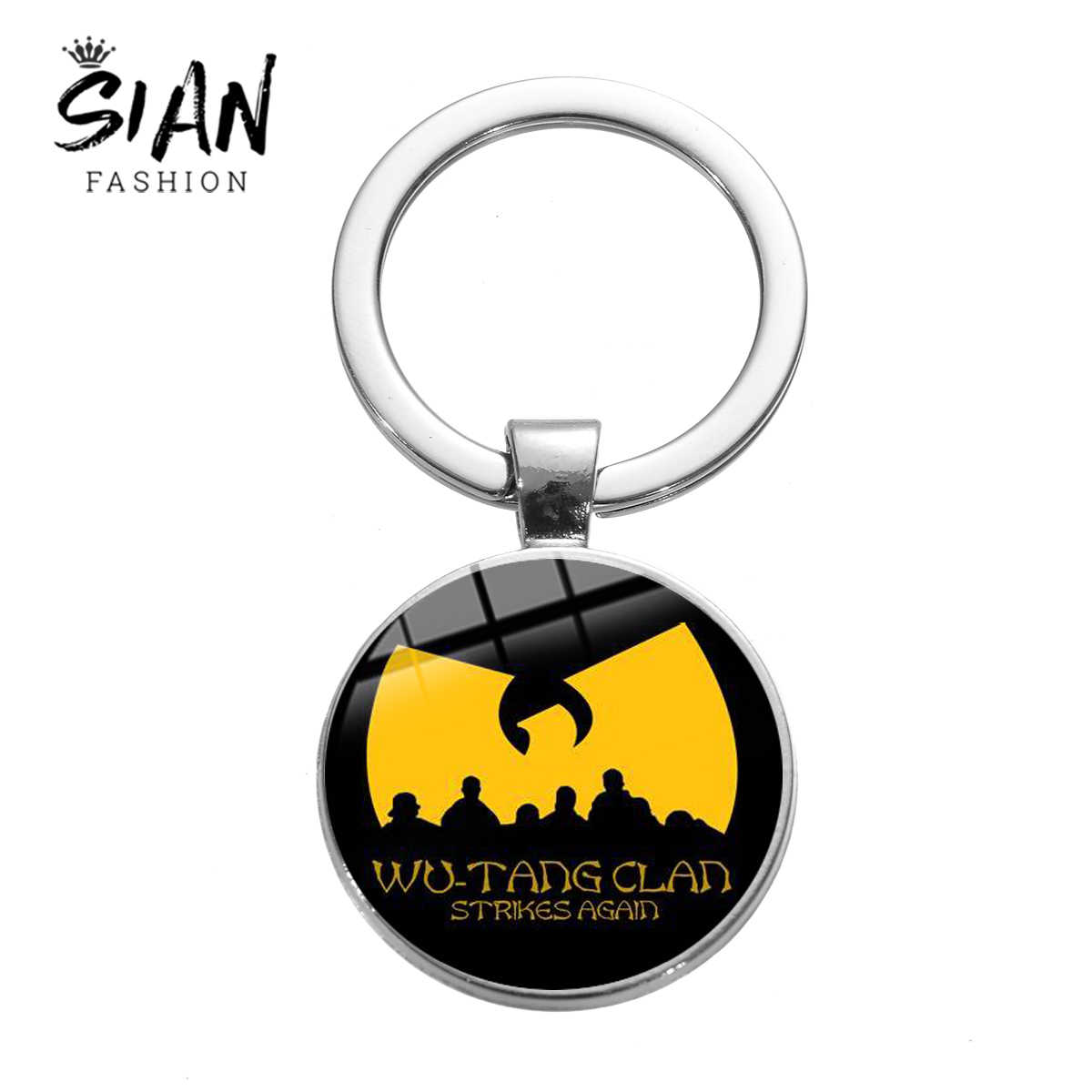 Llavero SIAN WU TANG CLAN hip-hop Rap música Fans llavero regalos Chapado en plata antigua Cool Band Logo Glass Dome llave de aleación de anillo de