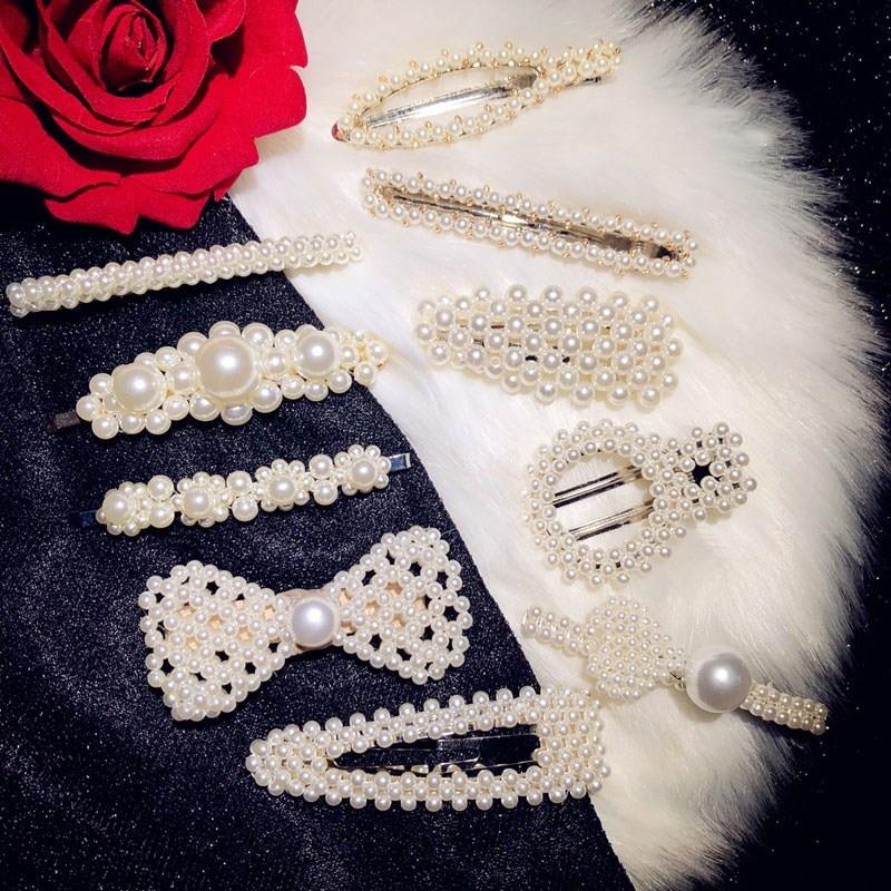 Hairwear Hair-Clip Flower Fine-Jewelry Pearl for Women Simple Freshwater Temperament