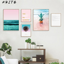 Pineapple Ocean Canvas Poster Landscape Wall Art Print Scandinavian Painting Nordic Decoration Picture Modern Home Decor