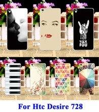 Casos de telefone de plástico rígido para htc desire 728 728g dual sim capa Protetora Estilo Bohemia Totem   Sexy Lábios Menina Legal bainha