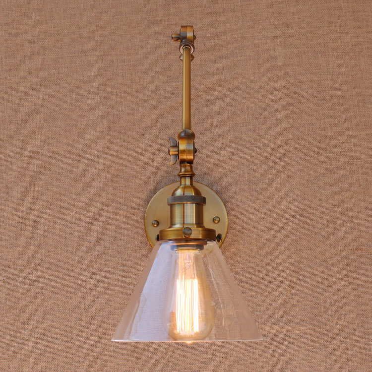 Glass Brass Adjustable Long Arm Wall Light Vintage Edison Loft Style - Indoor Lighting - Photo 2