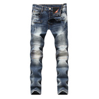 Men's Pleated Biker Jeans Slim Fit Motocycle Denim Trousers Male Straight Washed Zipper Type Jazz Punk Style Pant Dropshipping