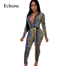 Long Sleeve Snake Skin Sexy V Neck Club Female Jumpsuit 2019 new Elegant Print Bandage Rompers Womens Overalls