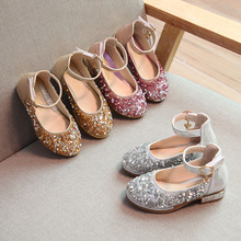 Fashion Sequins Girls Shoes Princess Wedding Party High-heels Pink Gold Silver Children Leather Dance for Kids