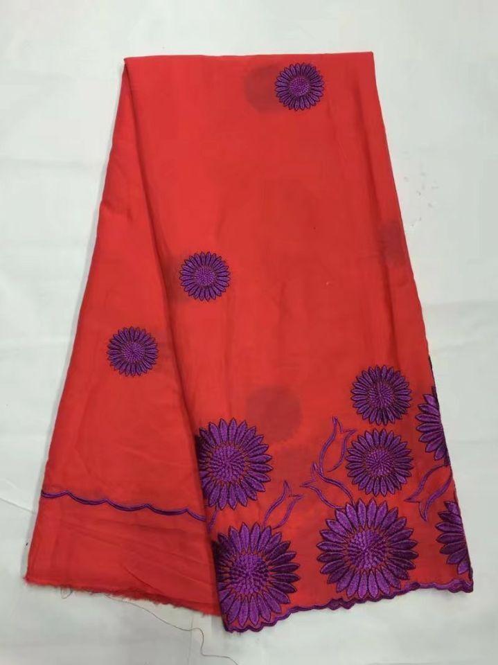 4.5 Yards/lot de luxe rouge africain coton dentelle tissu avec fleur pourpre design broderie suisse voile dentelle pour vêtements JC1-4