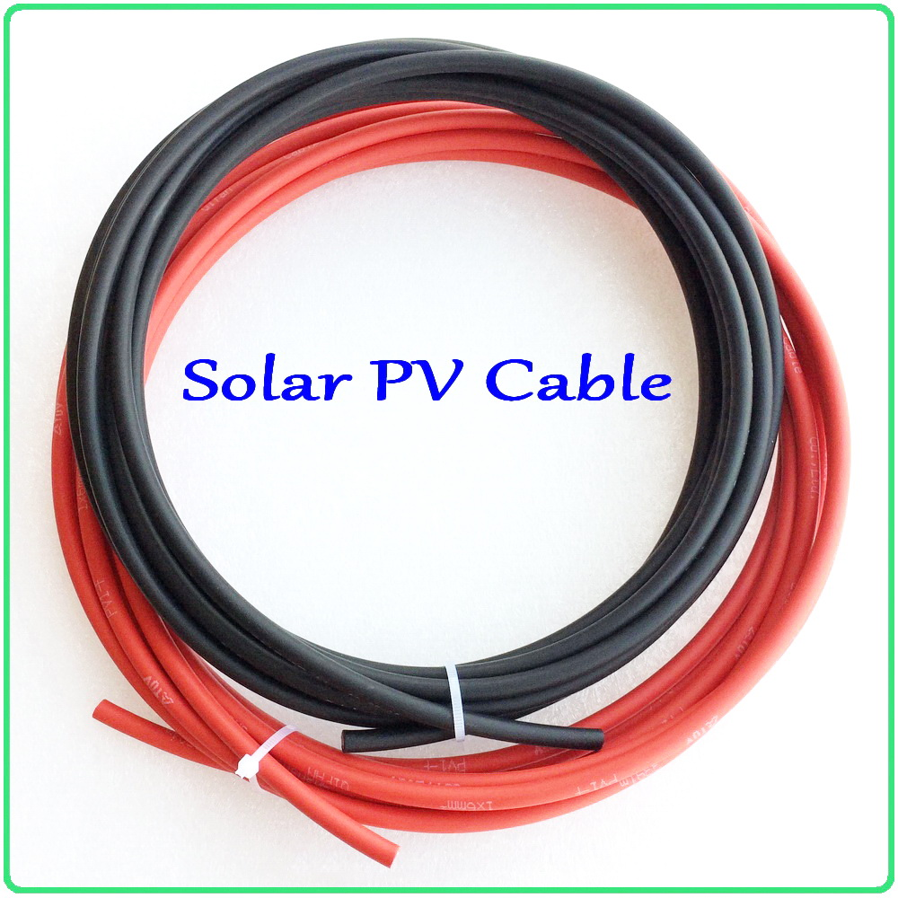 Solar PV Cable Red and Black PV Cable Wire for off grid / on grid tie system connection Tinned-Copper conductor XLPE insulation 5mm red black power connection cable for electronics 3m