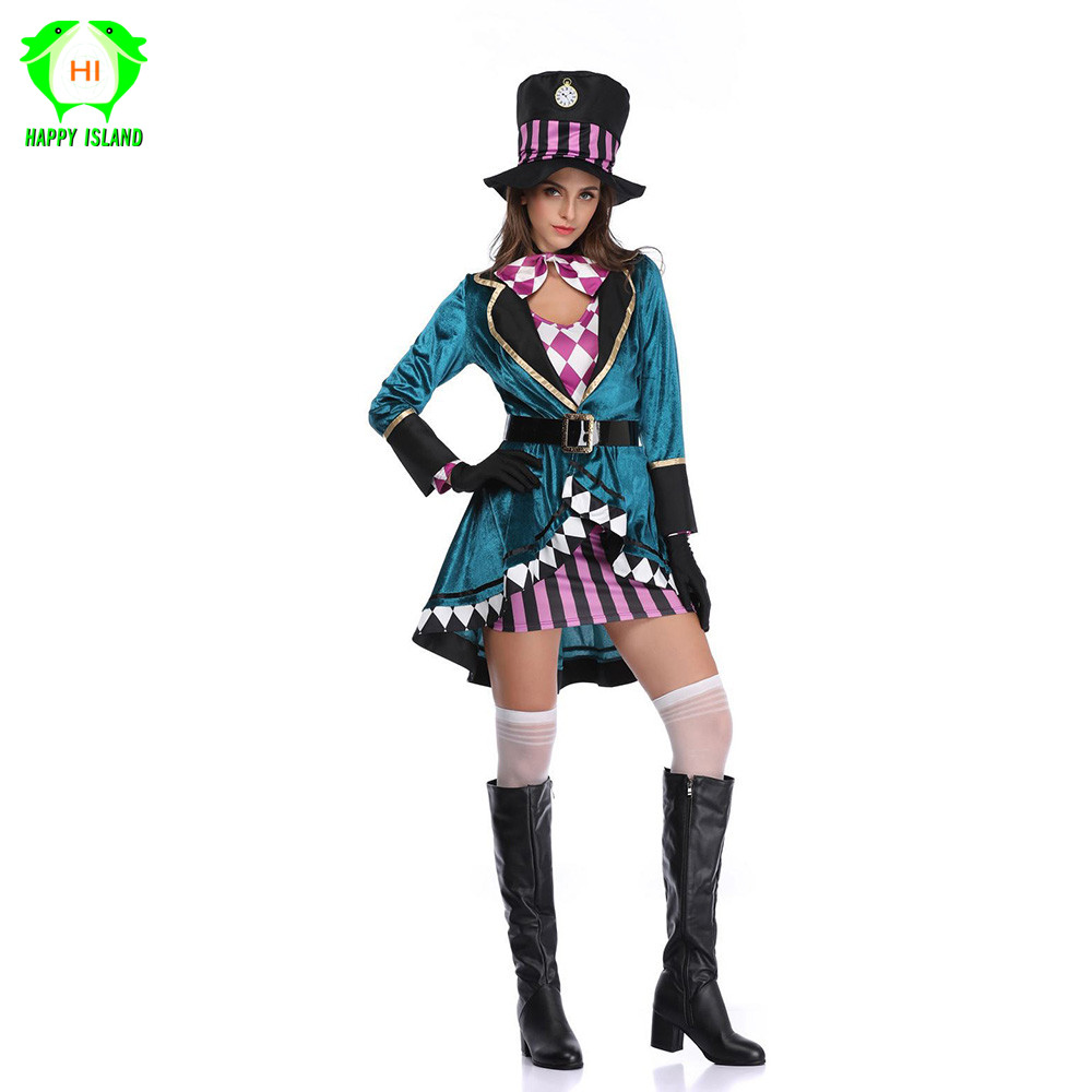Adult Halloween <font><b>Alice</b></font> <font><b>In</b></font> <font><b>Wonderland</b></font> Mad Hatter Cosplay <font><b>Costume</b></font> for Women <font><b>Sexy</b></font> Magician <font><b>Costume</b></font> Animal trainer Magic Show Wear image