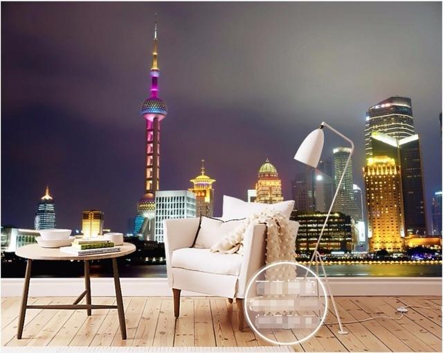 3d Room Wallpaper Custom Mural Shanghai Oriental Pearl Tower City
