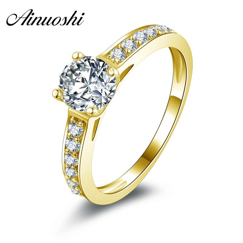 AINUOSHI 10k Solid Yellow Gold Wedding Rings 0.8 ct Simple Design Round Cut CZ Joyas de oro 10k Women Engagement Wedding Rings цена