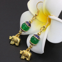 New arrival factory outlet simple gold-color elephant green chalcedony long dangle earrings drop earrings fine jewelry B2620