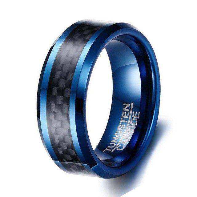 Blue Color Tungsten Rings for Men Wedding Bands 8mm Mens Black
