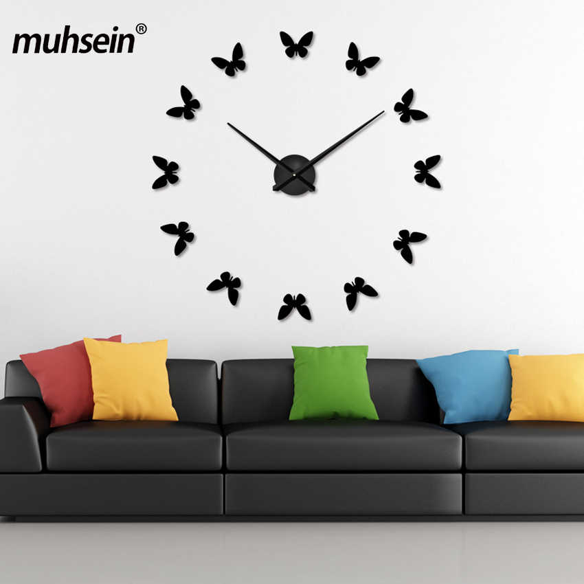 muhsein Self Adhesive Wall  Watch Wall Clocks Horloge 3d Diy Acrylic Mirror Stickers Home Decoration Living Room Quartz Gift