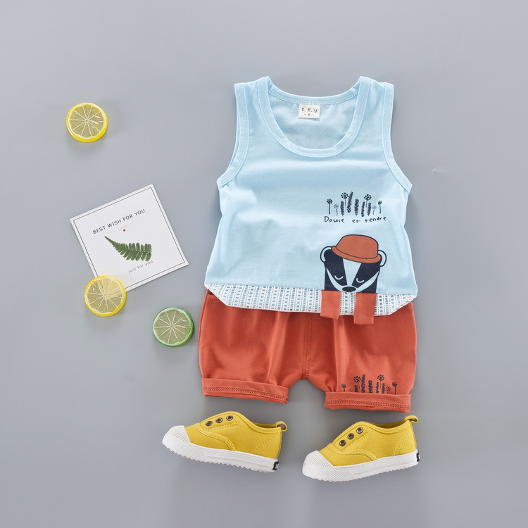 New 2018 Summer Baby Boy Clothes Fashion Cotton Sleeveless Tank Top+ Printed Shorts Baby Boys Clothing Set Infant 2pcs Suit 2pcs set baby clothes set boy
