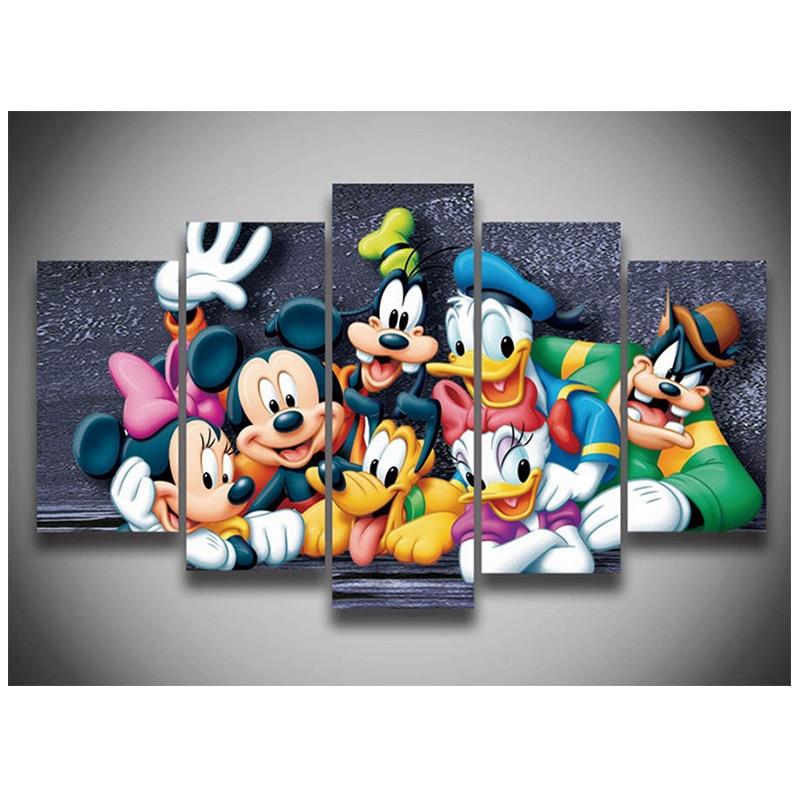 Ev ve Bahçe'ten Elmas Boyama Çapraz Dikiş'de 5 adet 3D Tam Yuvarlak Diy Elmas Boyama Çapraz Dikiş Desen Elmas Nakış Karikatür Mickey Mouse Ördek Odası Dekor'da  Grup 1