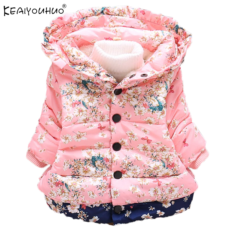 KEAIYOUHUO 2017 Jackets For Girls Winter Warm Fashion Coats Children Clothes Long Sleeve Cotton Hooded Down
