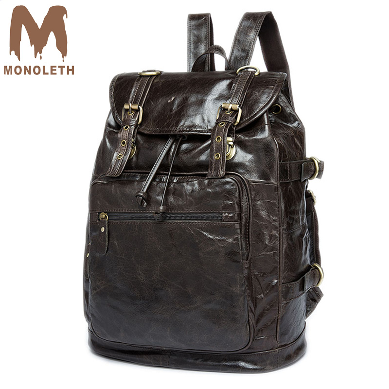 MONOLETH Casual Genuine Leather Bag Vintage Backpack 30Litre Travel Bag Top Brand High Quality 2018 NEW Arrival Black Bag 8818 bfdadi 2018 new arrival hat genuine